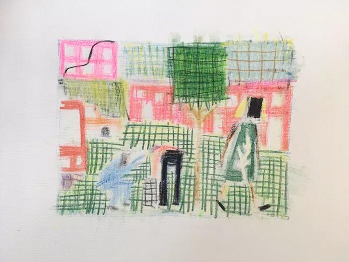 """Étienne Armandon / """"Étude pour la vie moderne"""" / 2018 / Crayons de couleurs sur papier / 40 x 30 cm"""