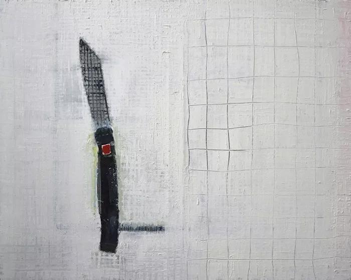 """Étienne Armandon / """"Couteau"""" / 2017 / Huile sur toile / Oil on canvas / 73 x 92 cm"""