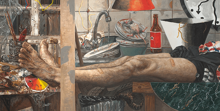 Marcos Carrasquer / I sleep in the kitchen with my feet in the hall / Huile sur toile – Oil on canvas / 50 x 100 cm / 2015