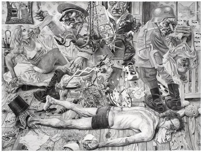 Marcos Carrasquer / « Job » / 2017 / Encre sur papier – ink on paper / 120 x 160 cm