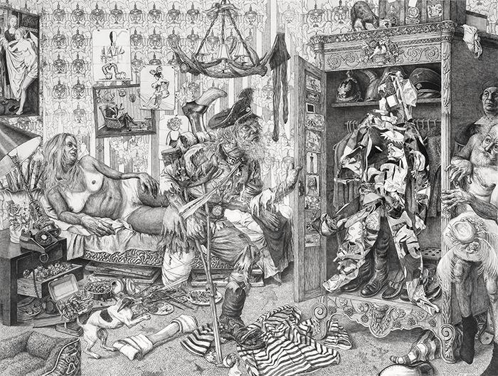 Marcos Carrasquer / El amorio – L'armoire / Encre sur papier – Ink on paper / 120 x 160 cm / 2015