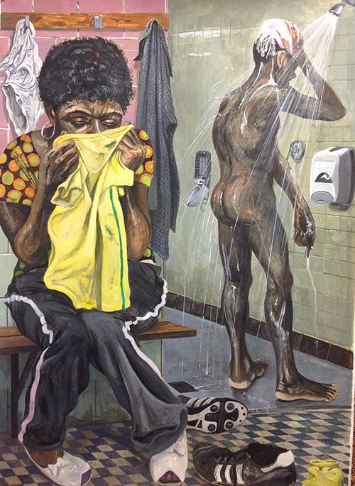 Marcos Carrasquer / Winnie et Stompie – Stompie Seipei, militant anti-apartheid de 14 ans est enlevé avec trois autres jeunes et assassiné en 1988 par des membres de la garde rapprochée de Winnie Mandela (la Mandela United Football Club),. Prétendument parce qu'il serait au service du gouvernement blanc sud-africain. Jerry Richardson, un des gardes du corps de Winnie fut condamné pour ce meurtre / Tempera sur papier – Tempera on paper / 105 x 75 cm / 2019