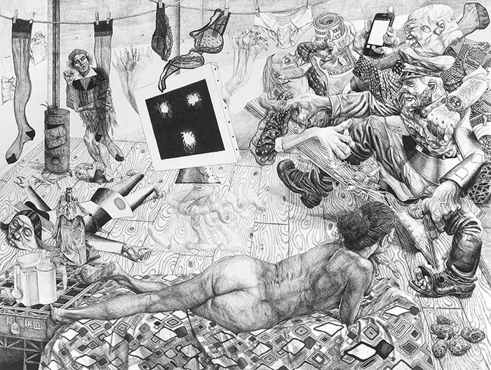 Marcos Carrasquer / Studio visit / Encre sur papier – Ink on paper / 120 x 160 cm / 2018