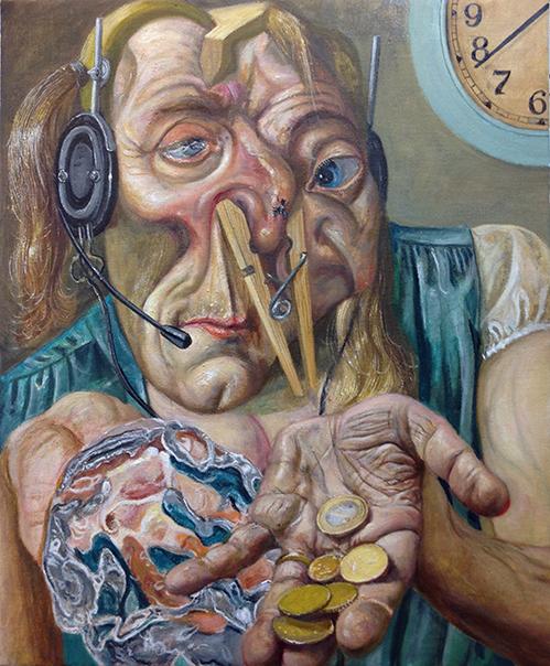 Marcos Carrasquer / Union-free / Huile sur toile – Oil on canvas / 45,5 x 38 cm / 2019
