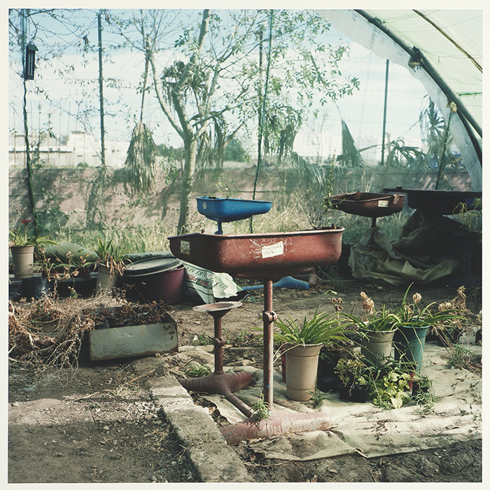 Yto Barrada / Yto Barrada - Tables d'écoliers, ferme pédagogique, Darna / Student tables, pedagogical farm, Darna / C-print 150 x 150 cm / Edition of 5 / 2011