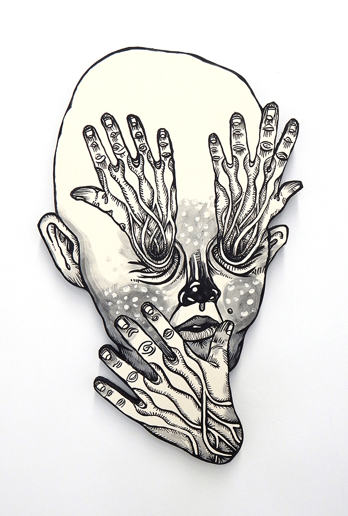 John Casey / Head Eye / Acrylique sur bois/crylic on Plywood Cutout / 2015