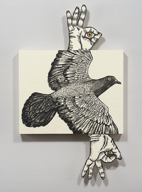 John Casey / Okay Pigeon / Acrylic on wood panel and cut plywood / 34 x 20 x 2 cm / 2017