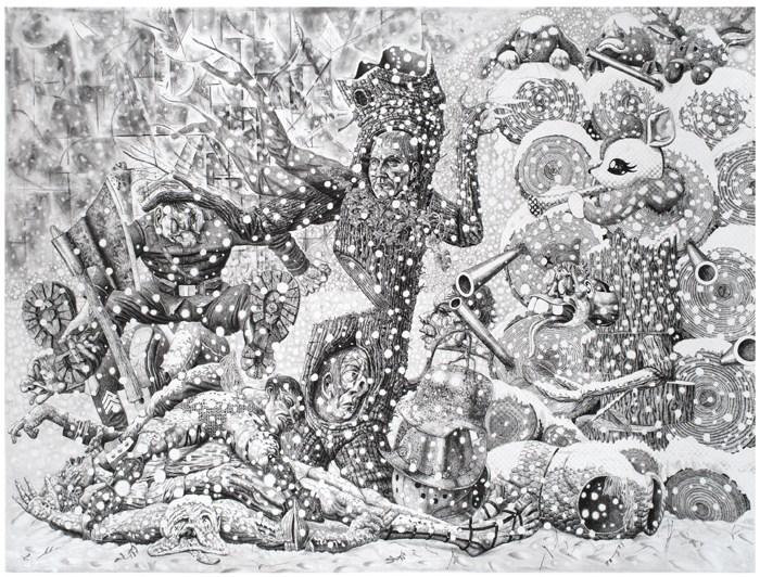 Marcos Carrasquer / « Partisan blues » / 2017 / Encre sur papier – ink on paper 120 x 160 cm