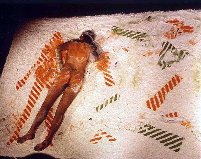 Nigel Rolfe / Performance / 1981 / Orange Man Green Man / Lyon Perf Festival / Archive colour
