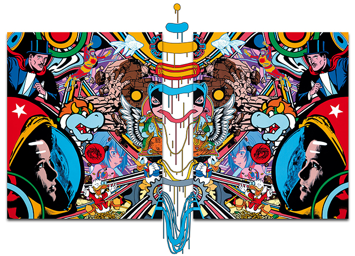 Speedy Graphito / Another Day / Acrylique sur toile – Acrylic on canvas / 500 x 200 cm / 2014