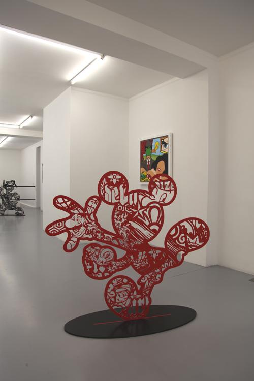 Speedy Graphito / Big Red Mickey / Acier et peinture epoxy / 130 x 146 x 50 cm / 2017