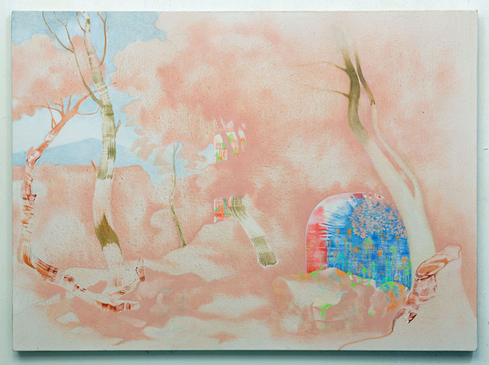 Simon Willems / Burnout (After Landscape with Saint Paul the Hermit by Nicolas Poussin 1637-1638) / Oil and acrylic on linen / 95 x 130 cm / 2018