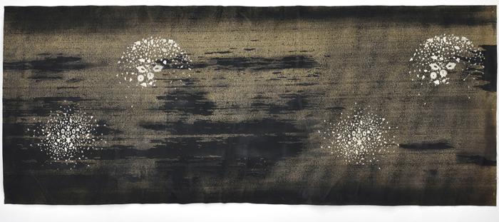 Sara Ouhaddou / « Woven/Unwoven #2 » / mixed media / 82 x 203 cm / 2015