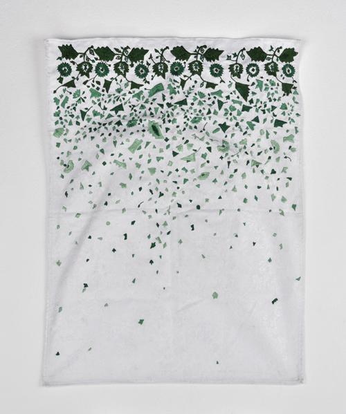 Sara Ouhaddou / « Titaween #3 », broderies sur tissu / embroideries, 65 X 49 cm, Unique piece