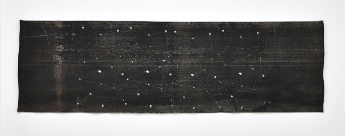 Sara Ouhaddou / « Woven/Unwoven #10 » / mixed media / 77 x 257 cm / 2017