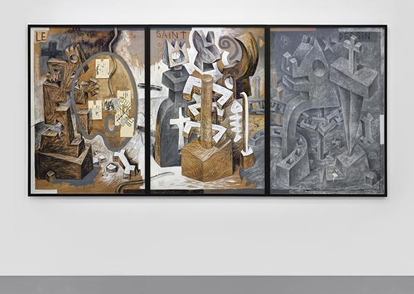 Speedy Graphito / Le Saint Dessin / Techniques mixtes sur bois / 132 x 93 x 3,5 cm (x3) / 1987