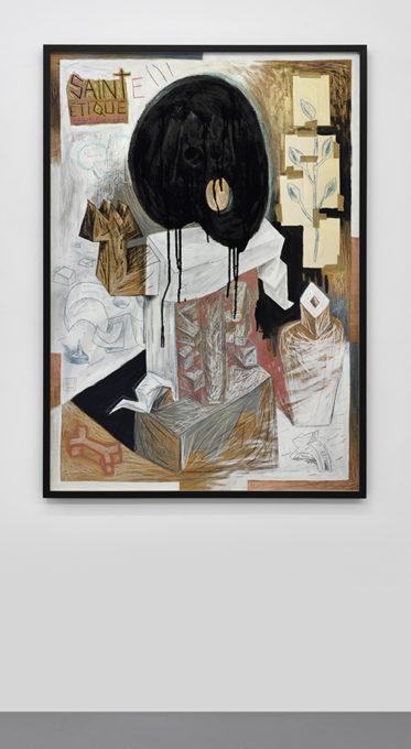 Speedy Graphito / Sainte Ethique / Techniques mixtes sur bois / 132 x 93 x 3,5 cm / 1988