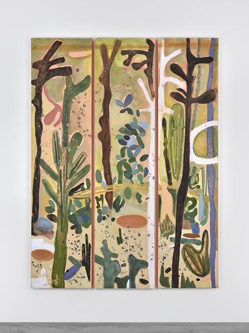 Vanessa Fanuele / Eclats Sauvages II / Huile sur toile – Oil on canvas / 3 x (187 x 44,5 cm) / 2018 / Vue de l'exposition à la Fondation Fernet Branca, Saint-Louis, du 25 novembre 2018 au 10 février 2019 / Commissaire: Pierre-Jean SUGIER