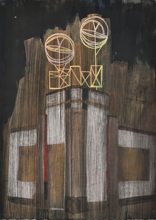 Vanessa Fanuele / Fuligo II / Huile sur papier – Oil on paper / 70 x 50 cm / 2017