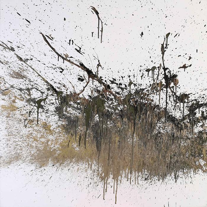 Khaled Jarrar / Gently I Pressed The Trigger # 5 / Acrylic on Canvas / 107 x 107 cm / 2014