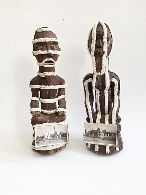 Harald Fernagu, Mes colonies, La Prise du Palais, Technique mixte / Mixed media, 47 x 15 x 10 cm + 50 x 15 x 19 cm, 2018