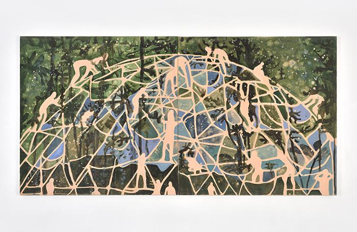 Vanessa Fanuele / L'étreinte / Huile sur toile / 100 x 100 cm (x 2) / 2018