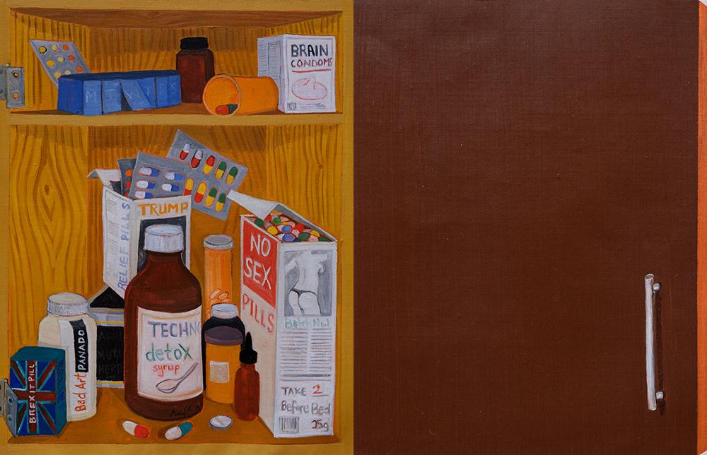 Richard Mudariki / Le Placard (diptyque) / (50 x 36 cm) x 2 / Huile sur toile – Oil on canvas / 2019