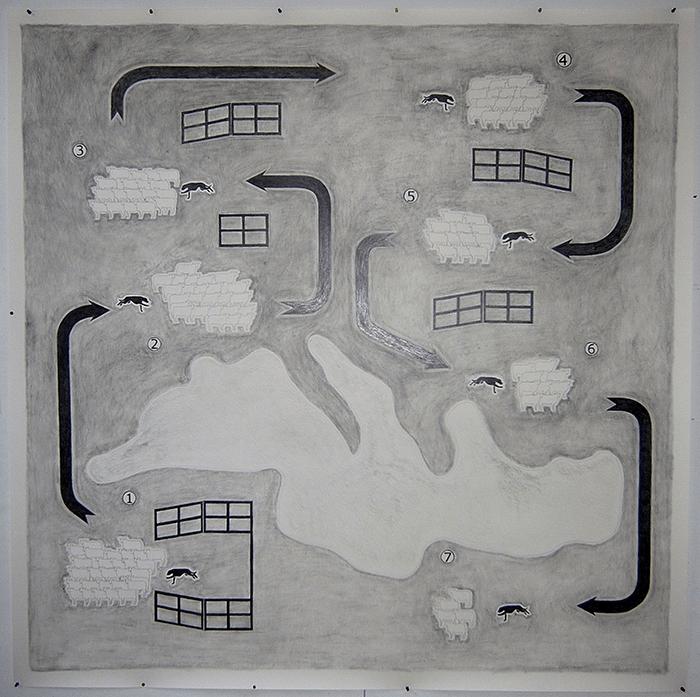 Patrick Guns / The (Mediterranean) Landscape / Mine de plomb sur papier / 200 x 200 cm / 2011