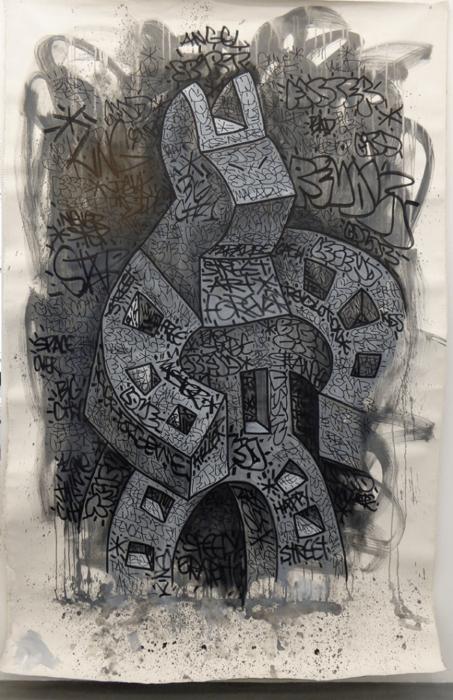 Speedy Graphito / Space Over Big City / Live performance – acrylique et posca sur toile / 250 x 150 cm / Disponible à la galerie
