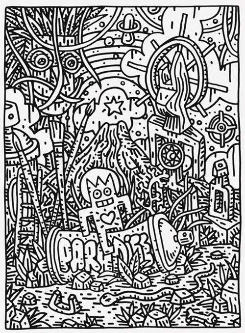 Speedy Graphito / Paradise / Posca sur papier / 38 x 28 cm / 2018