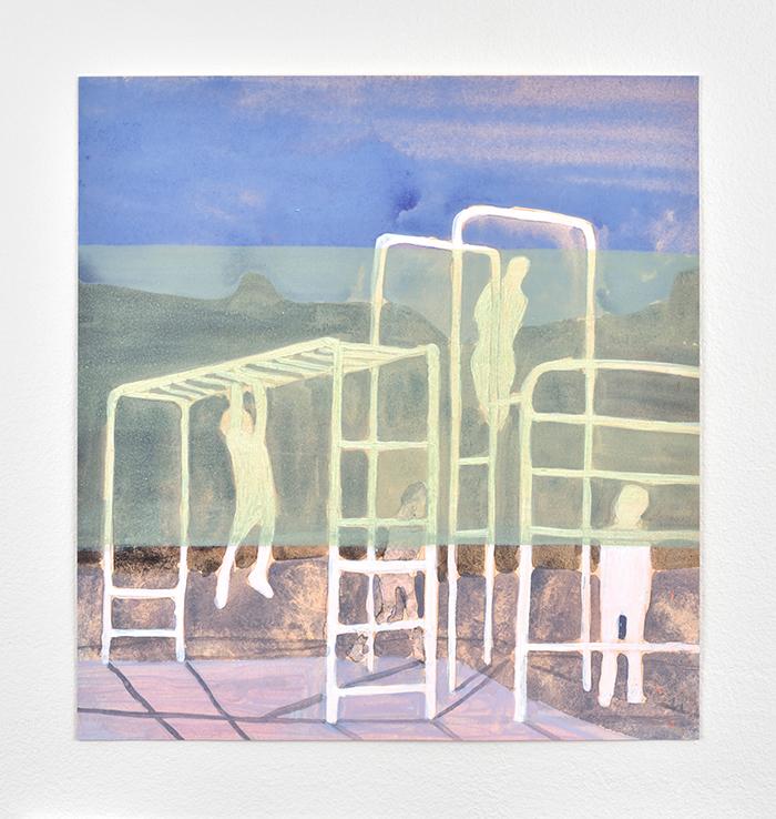 Vanessa Fanuele / Presque éternité V / Huile sur papier – oil on paper / 33,5 x 30,5 cm / 2019