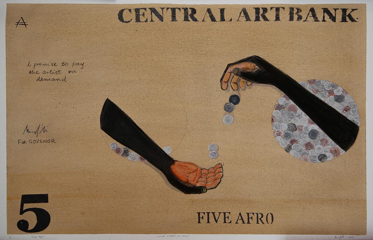 Richard Mudariki / 5 Afro / Mixed media on paper / 60 x 90 cm / 2019