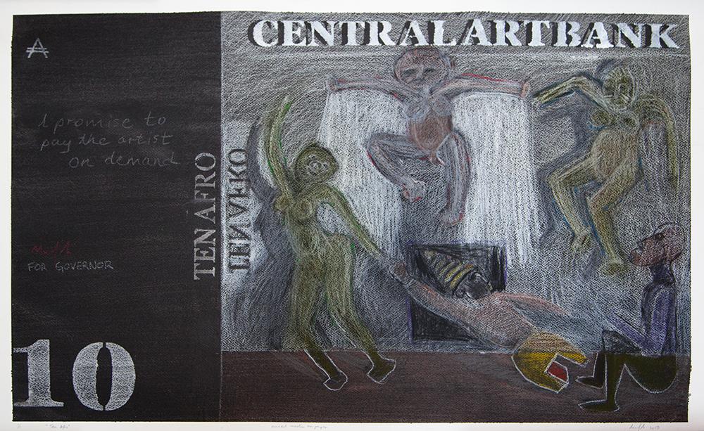 Richard Mudariki / 10 Afro / Mixed media on paper / 60 x 96 cm / 2019