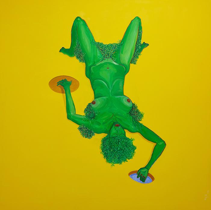 Richard Mudariki / Photosynthesis / Huile sur toile - Oil on canvas / 207 x 207 cm / 2019