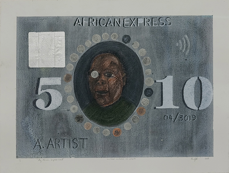 Richard Mudariki / African Express / Technique mixte sur papier - Mixed media on paper / 52 x 70 cm / 2019