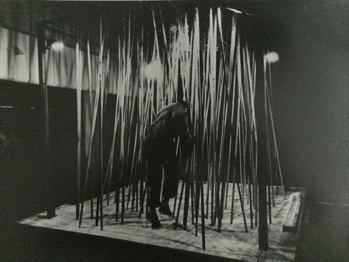 Nigel Rolfe / Performance / 1978 / Running with forest of sticks / Arts Council Gallery Belfast / Archive