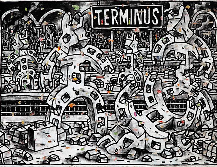 Speedy Graphito / TERMINUS / Acrylique sur papiers marouflés sur toile / 116 x 151 cm / 2005 – Disponible à la galerie