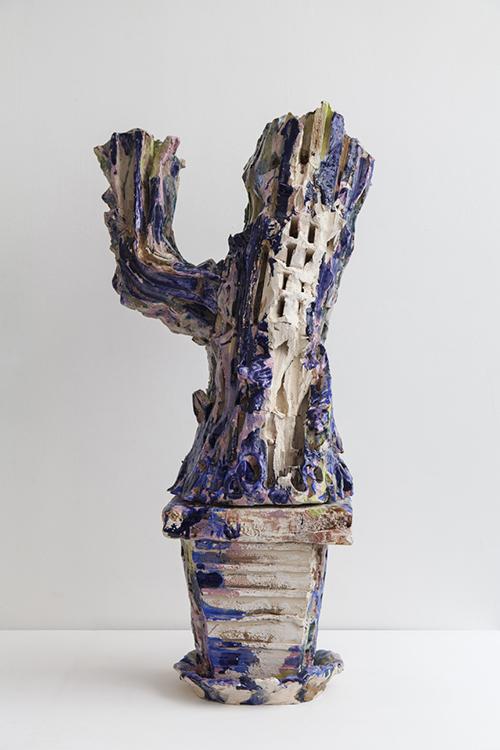 Clémence van Lunen / Cactus #5 / Grès, briques émaillées – Glazed stoneware / 89 x 44 x 22 cm / 2017