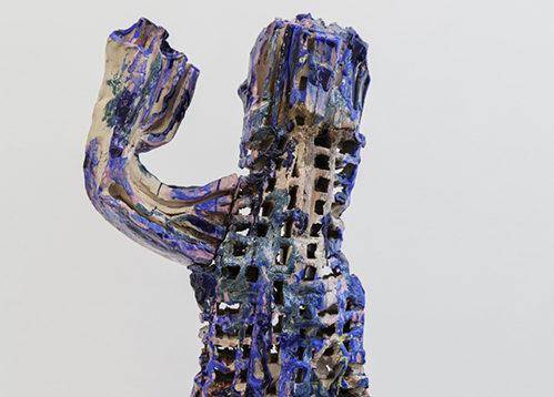 Clémence van Lunen / Cactus #6 / Grès, briques émaillées – Glazed stoneware / 88 x 37 x 42 cm / 2017