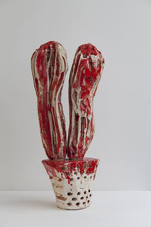Clémence van Lunen / Cactus #8 / Grès, briques émaillées – Glazed stoneware / 75 x 34 x 28 cm / 2017