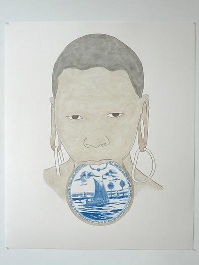 Patrick Guns / Femme et plateau n°19 / Dessin sur papier, 110 x 75 cm / 2005