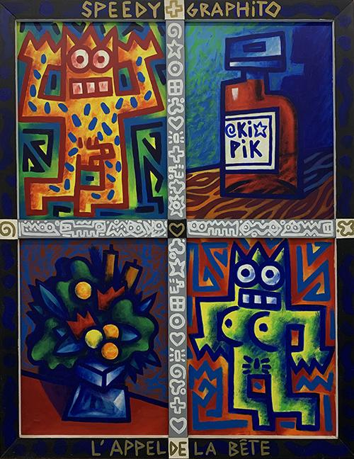 Speedy Graphito / L'appel de la bête / Acrylique sur toile et sur bois - Acrylic on canvas and wood / 146 x 114 cm / 1986