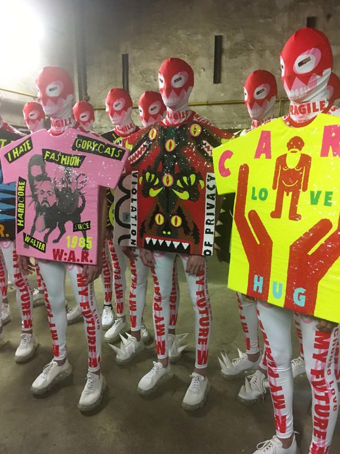 Walter van Beirendonck W:A.R. WALTER ABOUT RIGHTS / Fashion show autumn/winter 2020/2021 at Paris, Belleville / January 15, 2020