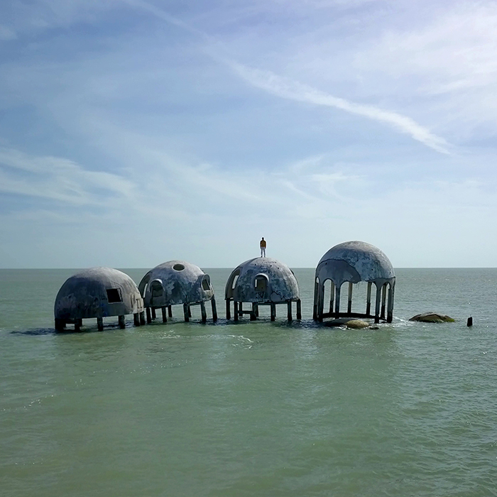 Simon Faithfull / Reenactment for Future Scenario #2: Cape Romano, 2020 (video still)