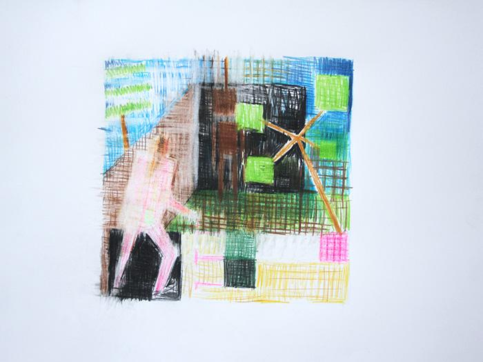 Étienne Armandon / Au pendu I / Crayons de couleur sur papier / 50 x 65 cm / 2020