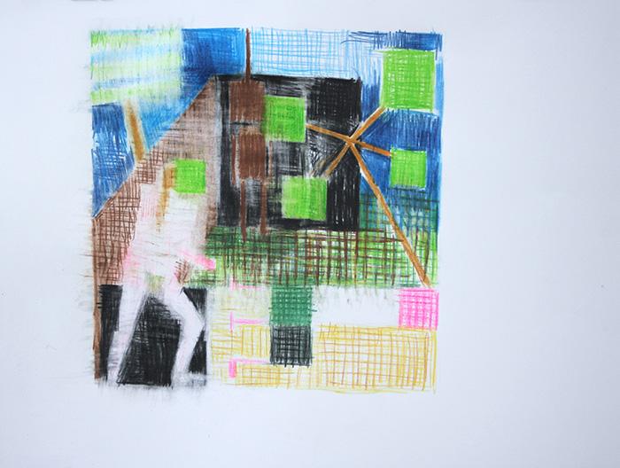 Étienne Armandon / Au pendu II / Crayons de couleur sur papier / 50 x 65 cm / 2020