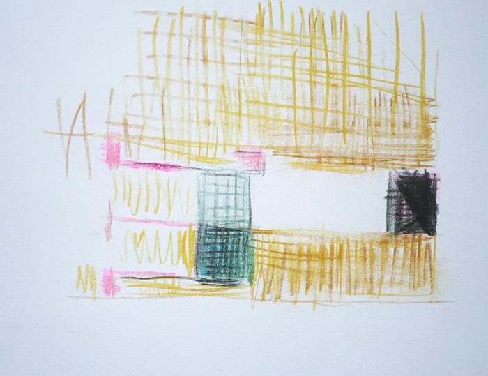 Étienne Armandon / Femme effondrée (étude) / Crayons de couleur sur papier / 14,85 x 21 cm / 2019