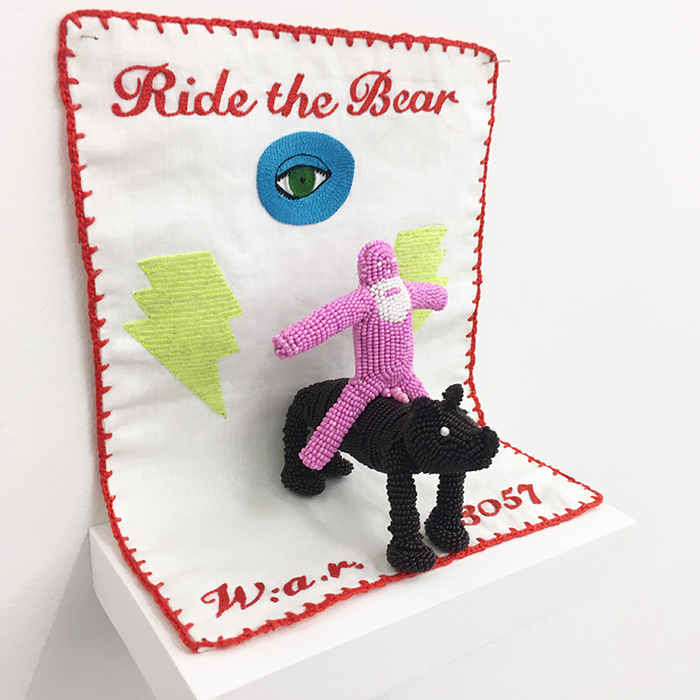 Walter van Beirendonck / Ride the bear / Unique piece - Embroideries and beadings / 19 x 19 x 10 cm / 2020