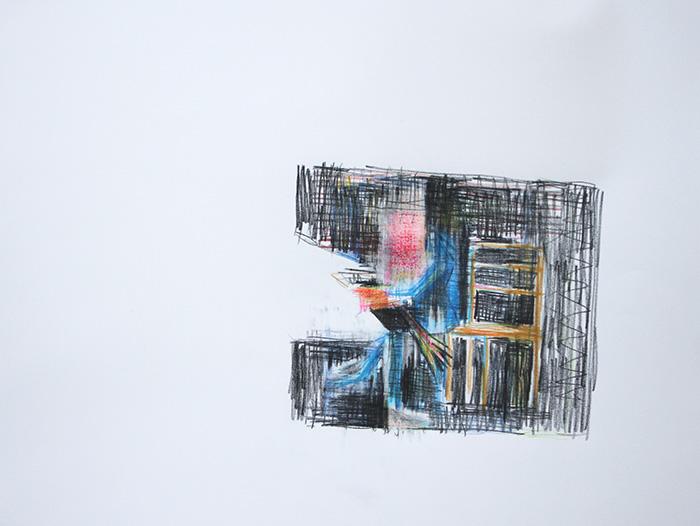 Étienne Armandon / La métamorphose I / Crayons de couleur sur papier / 50 x 65 cm / 2019