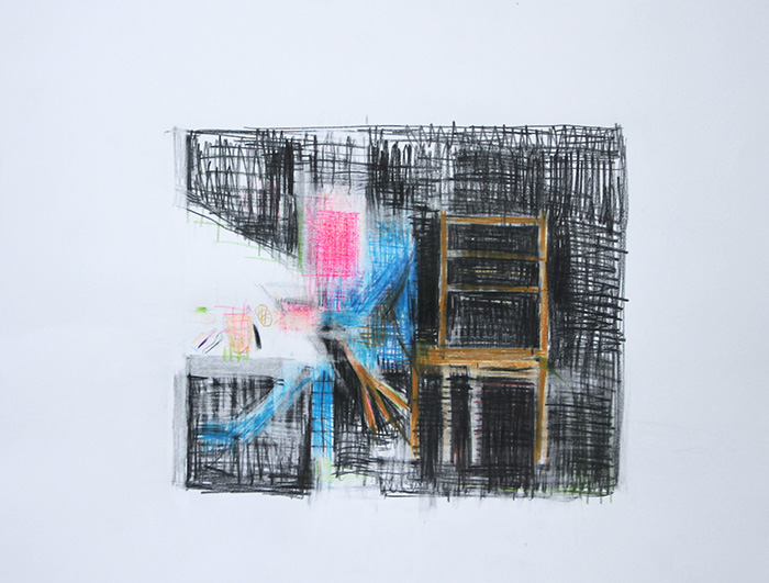 Étienne Armandon / La métamorphose II / Crayons de couleur sur papier / 50 x 65 cm / 2019